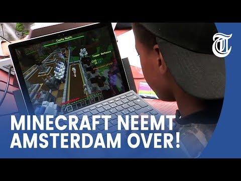 Kinderen ontwerpen plein met Minecraft