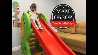 МамОбзор : Детская площадка с большой горкой и качелями, Робот Бибо (Бибель)