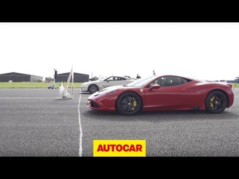 Nissan GT-R vs Ferrari 458 Speciale vs McLaren 650S - Drag Race | Autocar