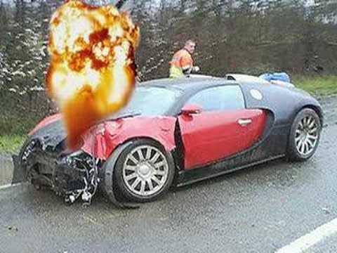 bugatti veyron burnout crash fastest sports car top speed