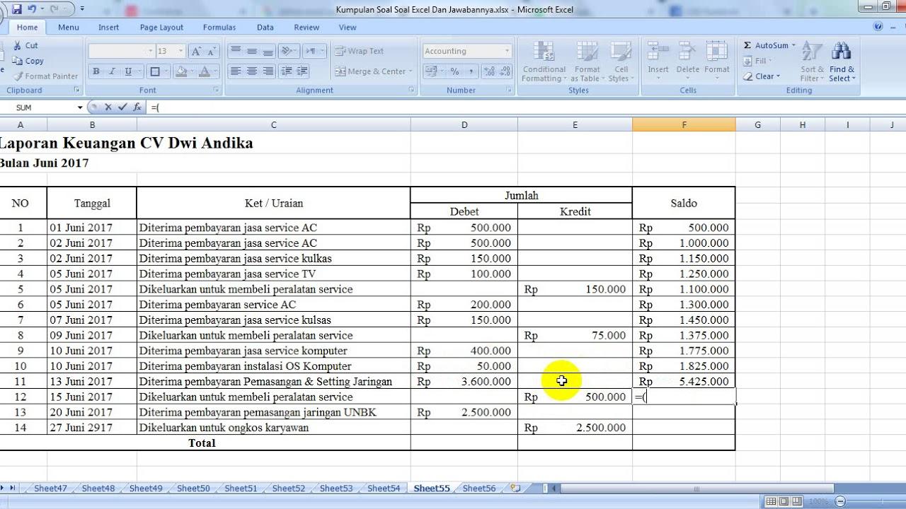 Contoh Pembukuan Pemasukan Dan Pengeluaran Keuangan Menggunakan Excel Youtube