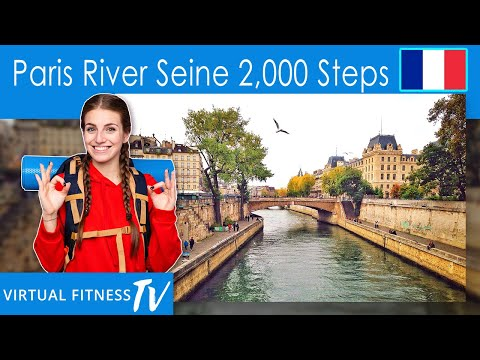 2000 Steps In 20 Minutes - Walking Workout - Virtual Walking Tour in Paris by the River Seine