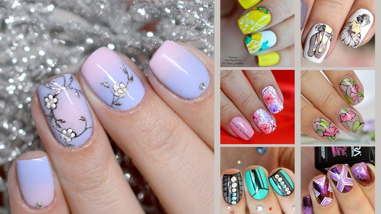 """Дизайн гель лаком на коротких ногтях. Весенний маникюр """"Цветы"""" 24.  Подборка идей на короткие ногти"""