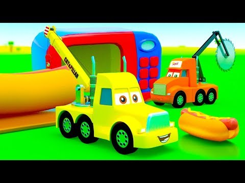 Trucks Change Wheels with Sausages! City of Little Cars stories: Truck Big Mike and Giant Hot Dog