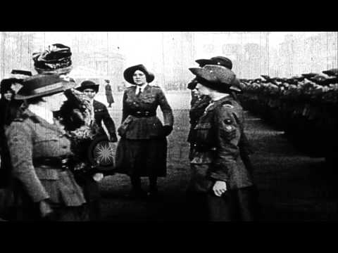 Queen Mary reviews units of the British Womens Army Auxiliary Corps (WAAC). HD Stock Footage