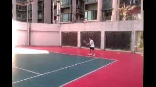 Tennis Forehand Practice at Dawning Views Tennis Court, April 2015, Fanling, HK