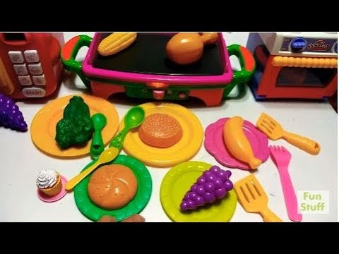 Walmart Shopping TOY Cart With Fruits veggies Microwave STOVE Oven TOYS