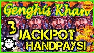 🐲NEW SLOT! HIGH LIMIT Dragon Link GENGHIS KHAN (3) HANDPAY JACKPOTS  🐲$50 BONUS ROUND Slot Machine 🐲