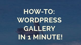 How-to: Wordpress Gallery in 1 Minute! thumbnail