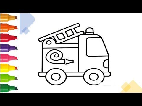 Hướng dẫn vẽ xe cứu hỏa  | Draw a Fire Truck easy | Drawing Tutorials