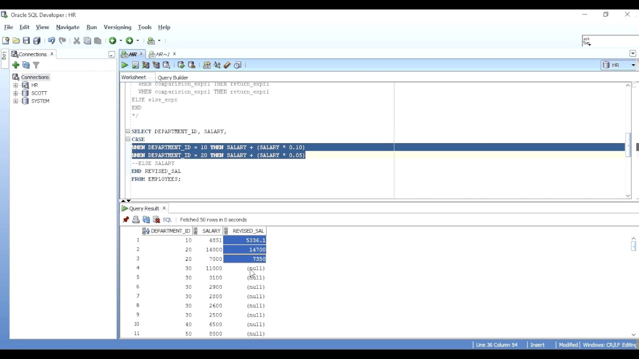 CASE STATEMENT(IF THEN ELSE) IN ORACLE SQL WITH EXAMPLE