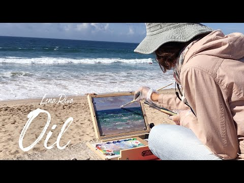 "Oil seascape painting demonstration ""Surfing Lesson"" - Real Time"