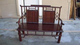 Chinese Vintage Bamboo Simulated Double Seat Bench S352m