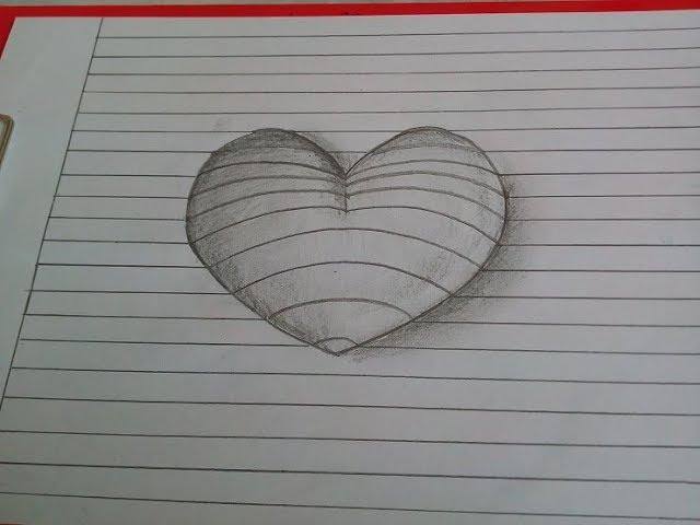 3D Herz malen. Wie zeichnet man ein Herz mit Bleistift. Zeichnen lernen für Anfänger