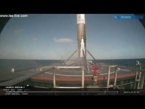 Space X Возвращение первой ступени ракетоносителя Falcon 9. 14.01.2017 г.