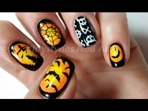 ombre halloween nail art stamping