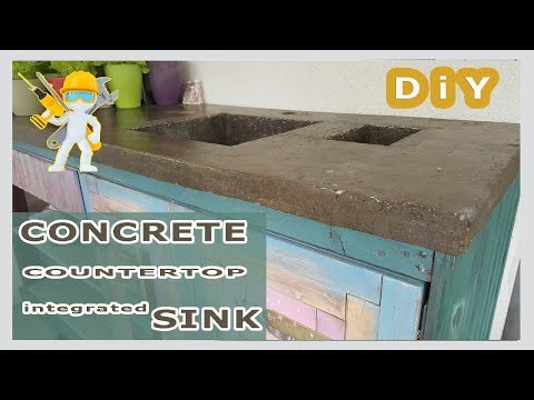 Concrete countertop with integrated sink - worktop made of concrete -  Epoxy resin - How to - New