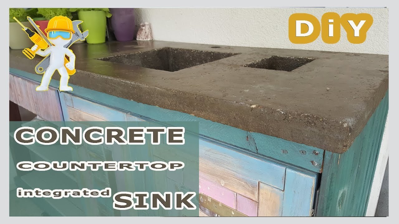 concrete countertop with integrated sink worktop made of concrete epoxy resin how to new