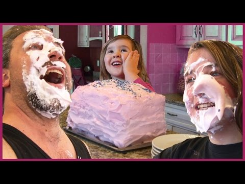 Kids Do Balloon Cake Prank on Dad -  Shaving Cream in Face Fun