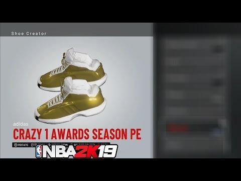 NBA 2K19 Shoe Creator adidas Crazy 1 Awards Season PE #NBA2K19