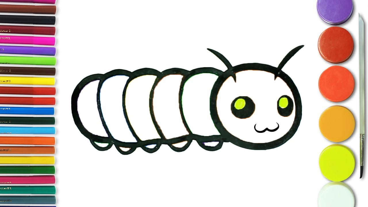 how to draw caterpillar coloring pages kids learn drawing art