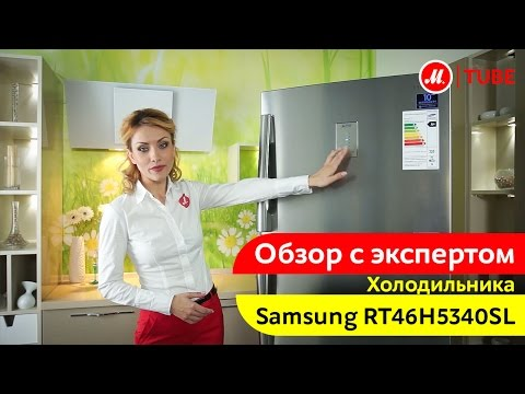 Видеообзор холодильника с верхней морозильной камерой Samsung RT46H5340SL с экспертом М.Видео