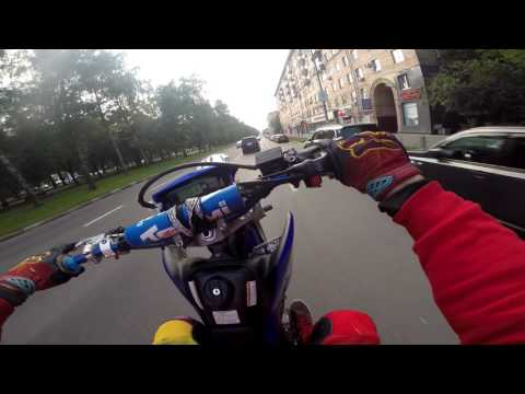 Retarded illegal street ride in Moscow city on SUPERMOTO