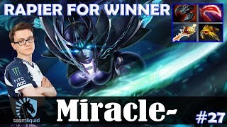 Miracle - Phantom Assassin Safelane | RAPIER FOR WINNER | Dota 2 Pro MMR Gameplay #27