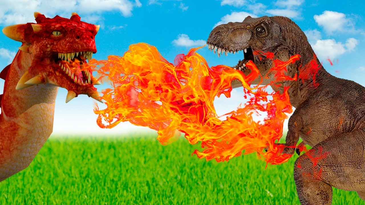 Dinosaurs - Tyrannosaurus T-rex and Spinosaurus VS fire-breathing Dragon.  Dinosaur for kids - YouTube
