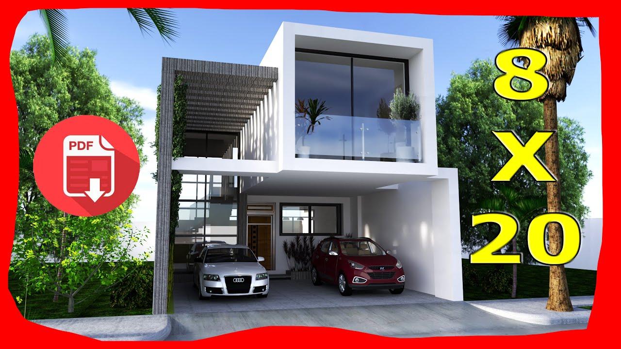 Casa moderna 8x20 metros parte 1 de 2 con alberca for Casa moderna 1 8