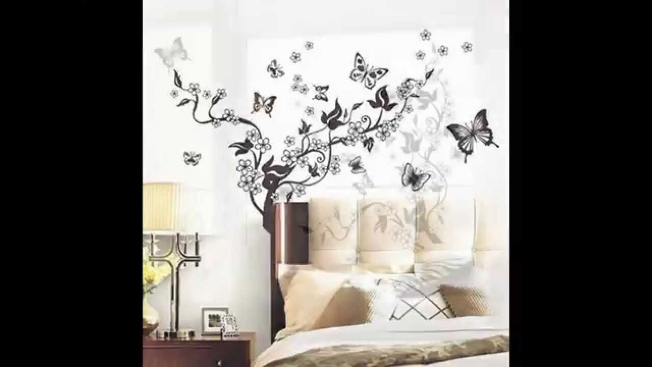 Flowers VineButterflies Removable Vinyl Wall Decal Sticker Art - Vinyl wall decals removable