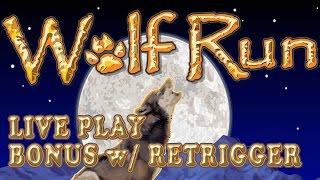 Wolf Run - live play w/ nice bonus with retrigger - Slot Machine Bonus