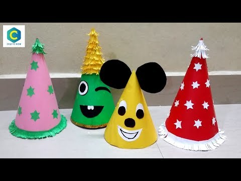 How to Make Birthday Cap with Paper I Santa Claus hat I Birthday Caps Making #Birthday #cap