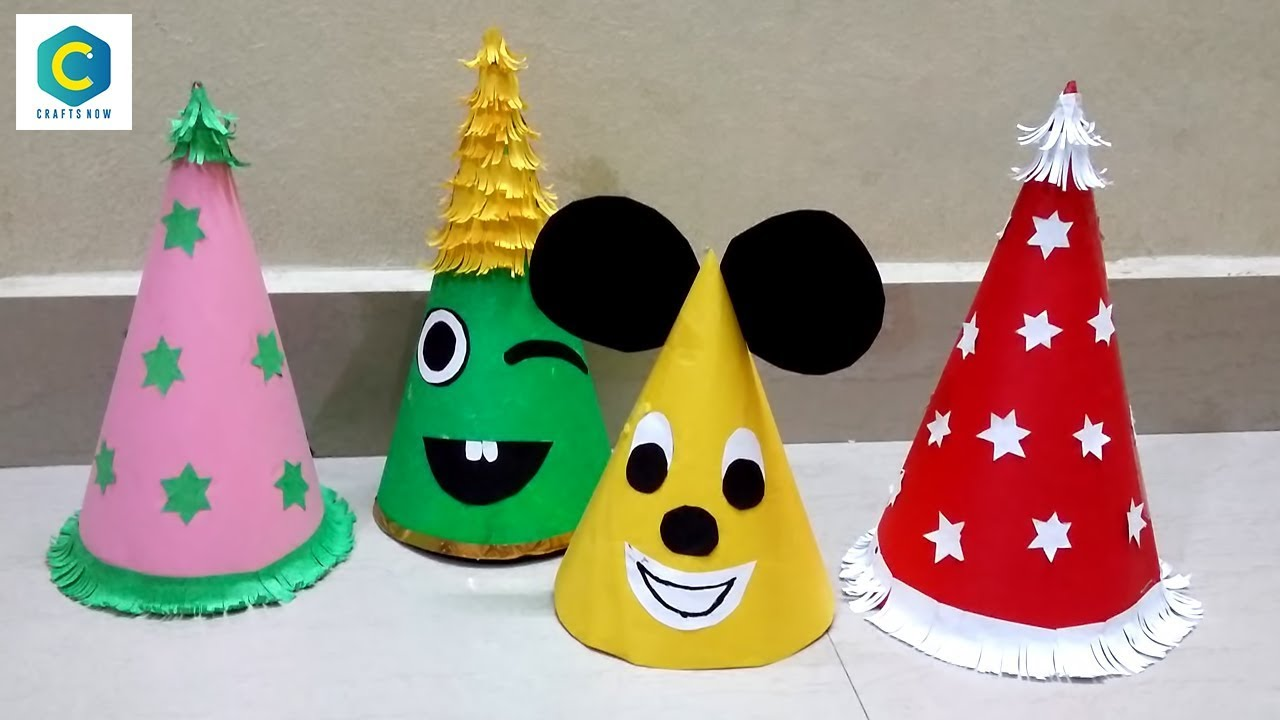 How To Make Birthday Cap With Paper I Santa Claus Hat Caps Making Crafts Now