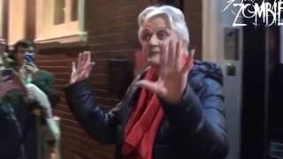 Angela Lansbury and Jemima Rooper exiting Blythe Spirit