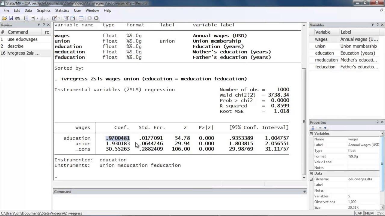 Instrumental-variables regression using Stata®