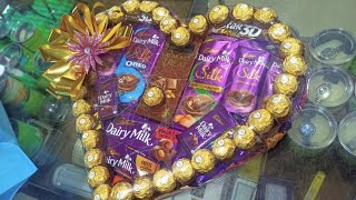 DIY;HOW TO MAKE CHOCOLATE HAMPER IN HEART SHAPE,