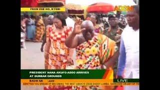 Pres. Nana Akufo-Addo arrives at durbar grounds on Adom TV (23-8-18)