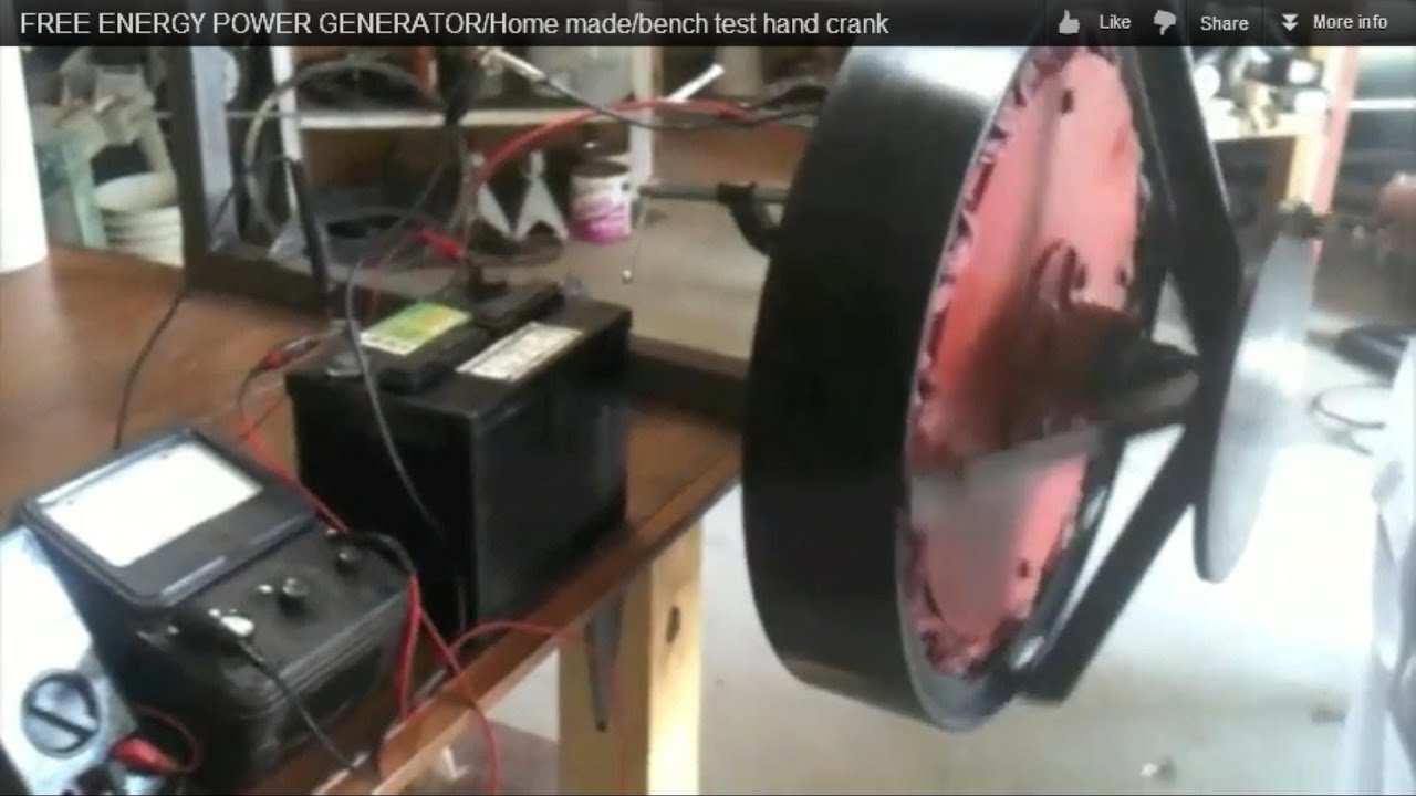 Permanent magnet GENERATOR Home made bench test hand crank