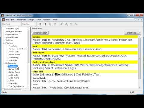EndNote: Editing An Output Style