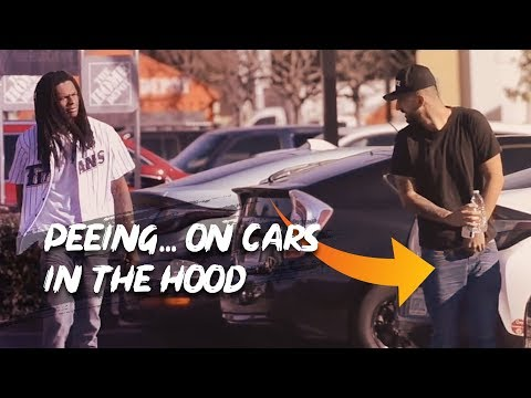PEEING ON PEOPLES CARS IN THE HOOD!