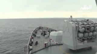 """سفينة الغراب """"الظافر"""" تنفذ رميا بالصاروخ المضاد للطيران  --el bilad tv -"""