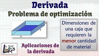 Volumen caja sin tapa | Aplicaciones de la derivada | Problemas de Optimización | La Prof Lina M3