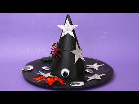 How to Make a Witch's Hat from a Paper Plate and a Party Hat - Halloween Crafts for Kids