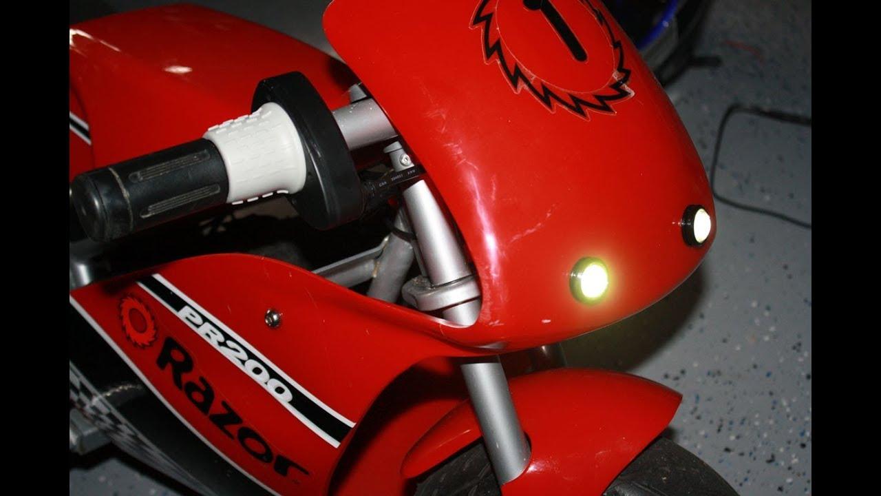 Installing Diy Led Headlight For Pocket Bike Razor Pocket Rocket