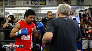 Manny Pacquiao on the mitts showing speed for Jessie Vargas - Full media workout video
