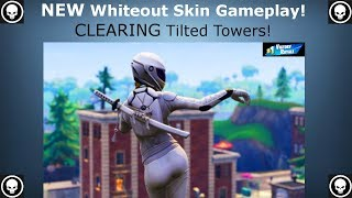 NEW Whiteout Skin Gameplay: CLEARING Tilted Towers [Fortnite Battle Royale Gameplay]