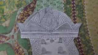 Drawing of Lotus temple and statue of liberty
