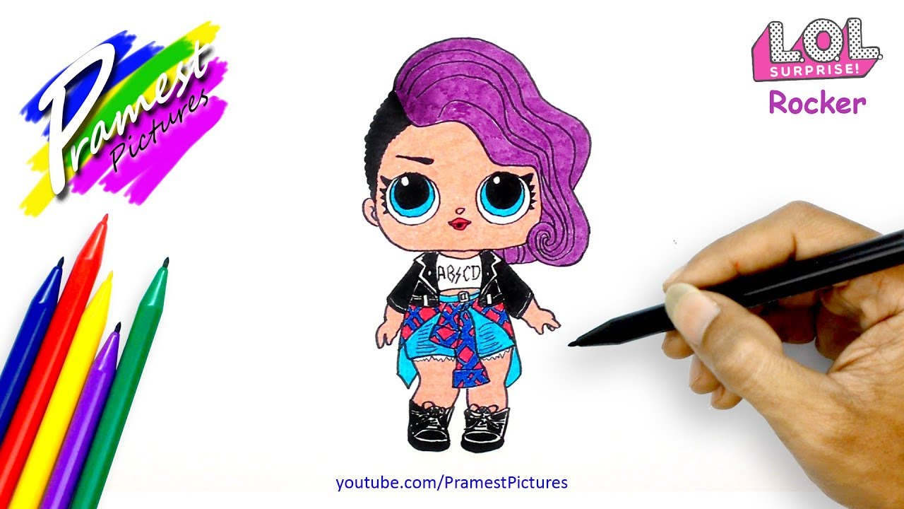 "How To Draw LOL Doll ""Rocker"" Coloring Pages For Kids"