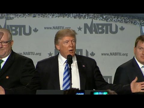 "Trump pledges ""America first"" at building trade union conference"